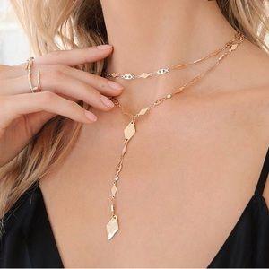 Jewelry - NEW 18kt Layered Drop Choker Necklace